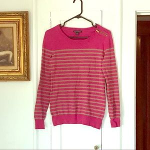 Banana Republic pink & camel striped sweater